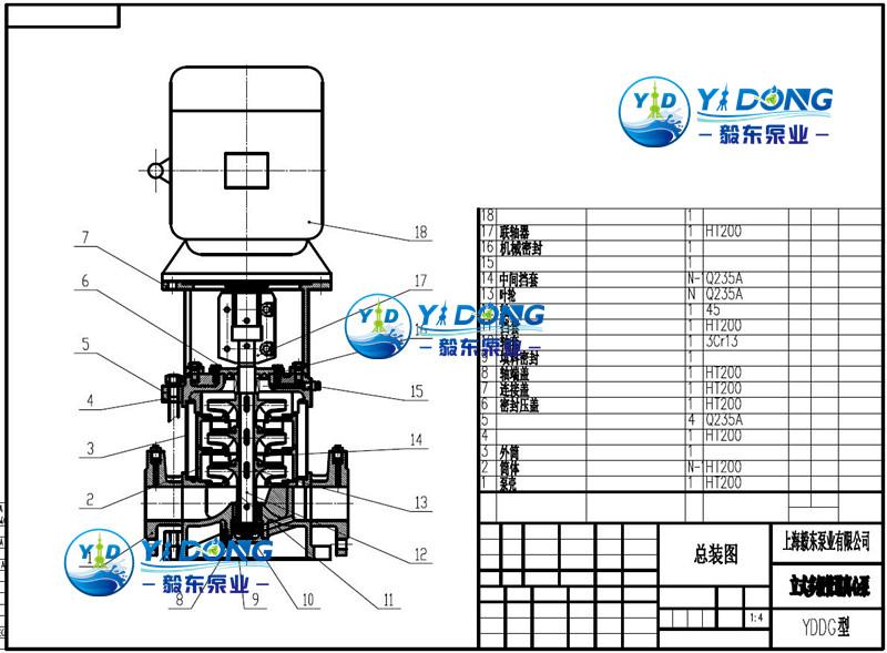 立式多级管道离心泵结构图